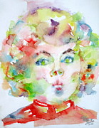Shirley Paintings - SHIRLEY TEMPLE - watercolor portrait.2 by Fabrizio Cassetta