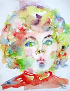 Shirley Temple - Watercolor Portrait.2 Print by Fabrizio Cassetta