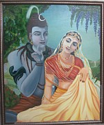Nandi Prints - Shiv and Parvati Print by Alka  Malik