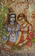 Vrindavan Das Framed Prints - Shiva and Parvati Framed Print by Vrindavan Das