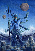 Sci-fi Painting Framed Prints - Shiva Destroyer Framed Print by Alan  Hawley