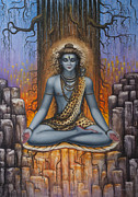 Kashinath Paintings - Shiva meditation by Vrindavan Das