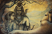 Meditation Paintings - Shiva Parvati . Spring in Himalayas by Vrindavan Das