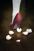 Cracked Egg Prints - Shoe In Eggshells Print by Joana Kruse