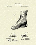 Shoe Drawings - Shoe Lace Fastener 1887 Patent Art by Prior Art Design