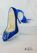 Pumps Painting Prints - Shoe Lover - Manolo Hangisi Pumps  Print by Nina R Aide