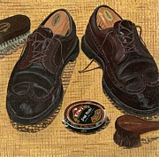 Mens Shoes Framed Prints - Shoe Shine  Framed Print by Jane Dunn Borresen