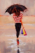 Umbrella Paintings - Shoe Shopping by Laura Lee Zanghetti