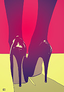High.  Drawings Posters - Shoes Poster by Giuseppe Cristiano