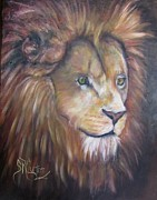 Golden Eyes Originals - Shombay a lion portrait in oils by Sandra Cutrer