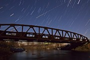 Startrails Posters - Shooting Star Over Bridge Poster by Dan Sproul