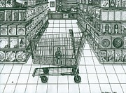 Shopping Drawings - Shop and Slave by Richie Montgomery