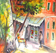 Portofino Italy Drawings - Shop Owner in Portofino in Italy by Miki De Goodaboom