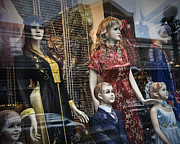 Apparel Framed Prints - Shop Window Display of Mannequins Framed Print by Randall Nyhof