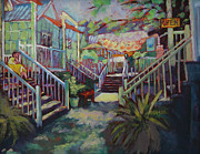 Store Fronts Painting Prints - Shoppe Talk Print by Carol Jo Smidt