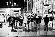 Crosswalk Prints - shoppers crossing corner of granville and west georgia streets at night Vancouver BC Canada Print by Joe Fox