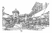 Shopping Drawings - Shopping Arcade by Andrew Drozdowicz
