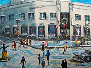 Snowing Painting Prints - Shopping at Grover Cronin Print by Rita Brown