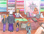 Amish Family Mixed Media Prints - Shopping At The Quilt Shop Print by Barbara LeMaster