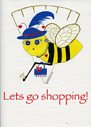 Gold Earrings Mixed Media Posters - Shopping Bee Gilda Poster by Christy Woodland