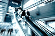 Escalator Prints - Shopping center rush Print by Michal Bednarek