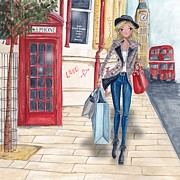 Girls Bedroom Paintings - Shopping in London by Caroline Bonne-Muller