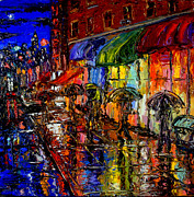 Cityscape Paintings - Shopping In The Rain by Arthur Robins