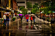 Cafe Umbrellas Posters - Shopping in the Rain Poster by David Patterson