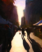 Impressionism Digital Art Prints - Shopping Stands Along Market Street at San Franciscos Embarcadero - 5D20841 v2 Print by Wingsdomain Art and Photography