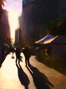 Impressionism Prints - Shopping Stands Along Market Street at San Franciscos Embarcadero - 5D20841 v3 Print by Wingsdomain Art and Photography