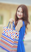 Shopping Bags Prints - Shopping woman Print by Anek Suwannaphoom