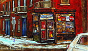 Verdun Connections Framed Prints - Shops And Streets Of St Henri- Montreal Paintings Depanneur Coca Cola Winter City Scenes Framed Print by Carole Spandau