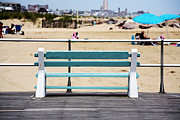 Ocean Images Posters - Shore Bench Poster by John Rizzuto