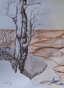 Sepia Ink Drawings - Shore Time by Grant Mansel-James