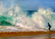 Waterscape Painting Posters - Shorebreak at the Wedge Poster by Michael Pickett