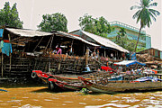 Southernmost Digital Art Prints - Shoreline Market along Mekong River-Vietnam Print by Ruth Hager