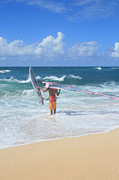 Beach Photograph Digital Art - Shoreline Serenity Surfing Hookipa Beach Pailolo Channel Maui Hawaii by Sharon Mau