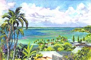 Ocean Shore Drawings Prints - Shores of Oahu Print by Carol Wisniewski