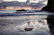 Waves Glass Art - Short Beach Sunset by Jim Young