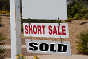 Financial Failure Prints - Short Sale And Sold Real Estate Sign Print by Gunter Nezhoda