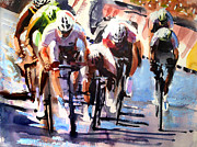 Tour De France Paintings - Short Sharp Sprint by Shirley  Peters