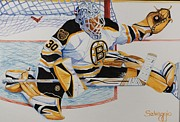 Hockey Painting Originals - Short Side Save by Alan Salvaggio