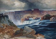 Yellowstone Digital Art Prints - Shoshone Falls Idaho Print by Thomas Moran