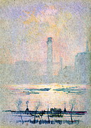 Horse And Buggy Framed Prints - Shot Tower from Embankment 1880 Framed Print by Padre Art