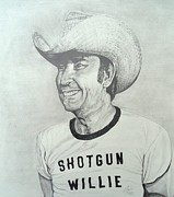 Outlaw Drawings - Shotgun Willie by Charles Rogers