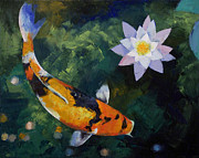 Koi Painting Posters - Showa Koi and Water Lily Poster by Michael Creese