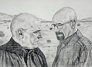 Bad Drawing Framed Prints - Showdown in the Desert Hank and Walt Breaking Bad Framed Print by Jeff McJunkin