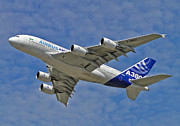 A380 Posters - Showing Off A Flagship Poster by Barrie Woodward