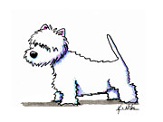 Terrier Dog Drawings Framed Prints - Showing Westie Framed Print by Kim Niles