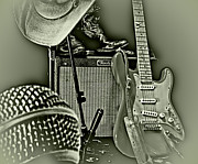 Fender Strat Posters - Shows Over BWHDR Poster by Robert Frederick